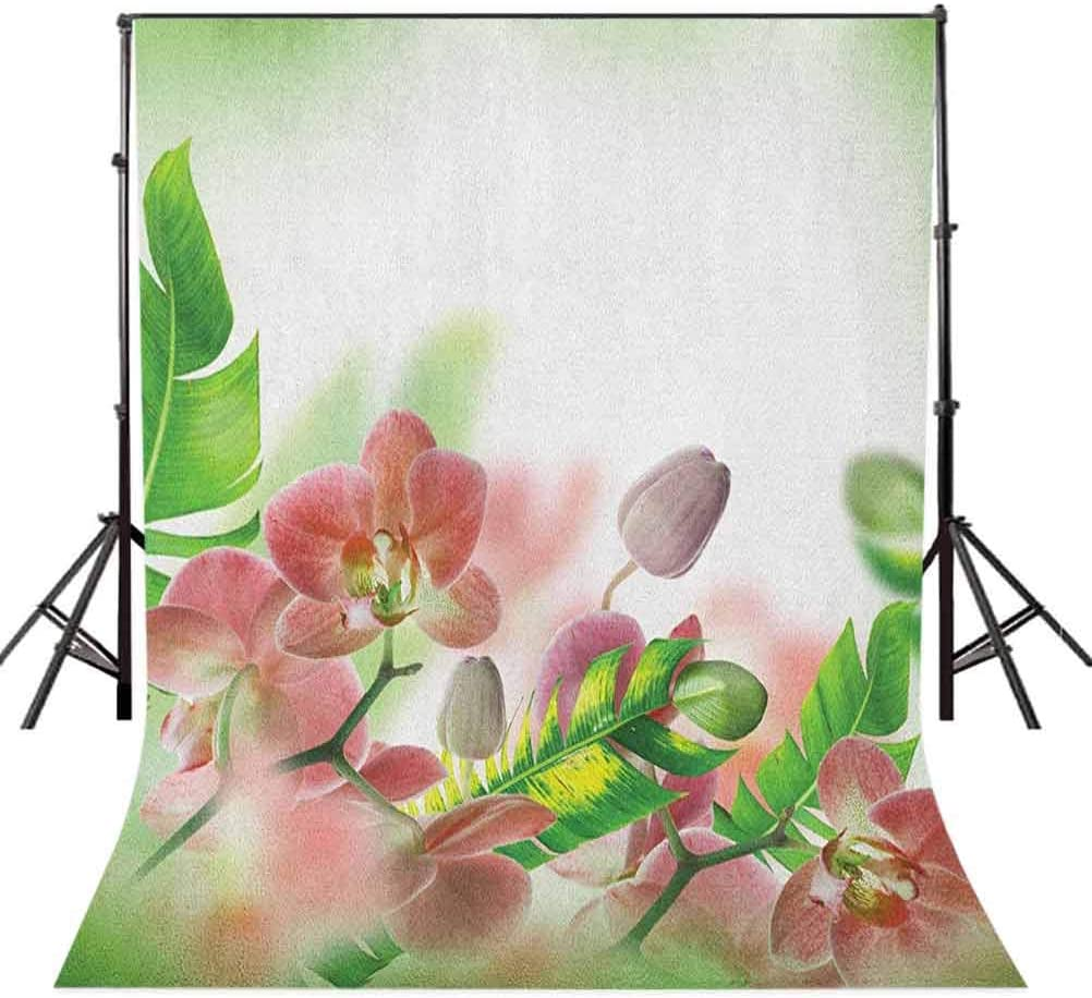 7x10 FT Grey and Yellow Vinyl Photography Backdrop,Grunge Sketchy Romantic Roses Leaves Cotton Flowers with Dots Image Background for Baby Birthday Party Wedding Graduation Home Decoration
