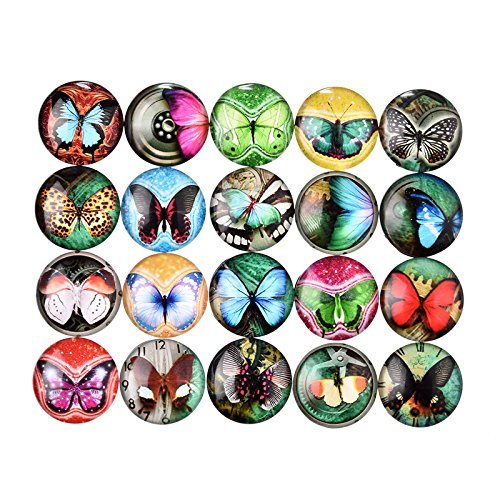 Mix Color Glass Cabochon Flat Butterfly DIY Handicraft Garden Decoration 20 Mm 10 Pcs - Glasses Faces Frames Chubby For