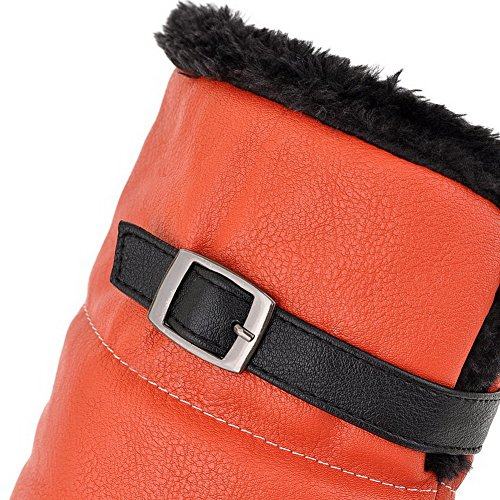 Toe PU Wool M 4 Closed US Buckle Boots Womens Kitten Round Solid AmoonyFashion Heels with Lamb Orange B 5 Imitated Ugntzq8