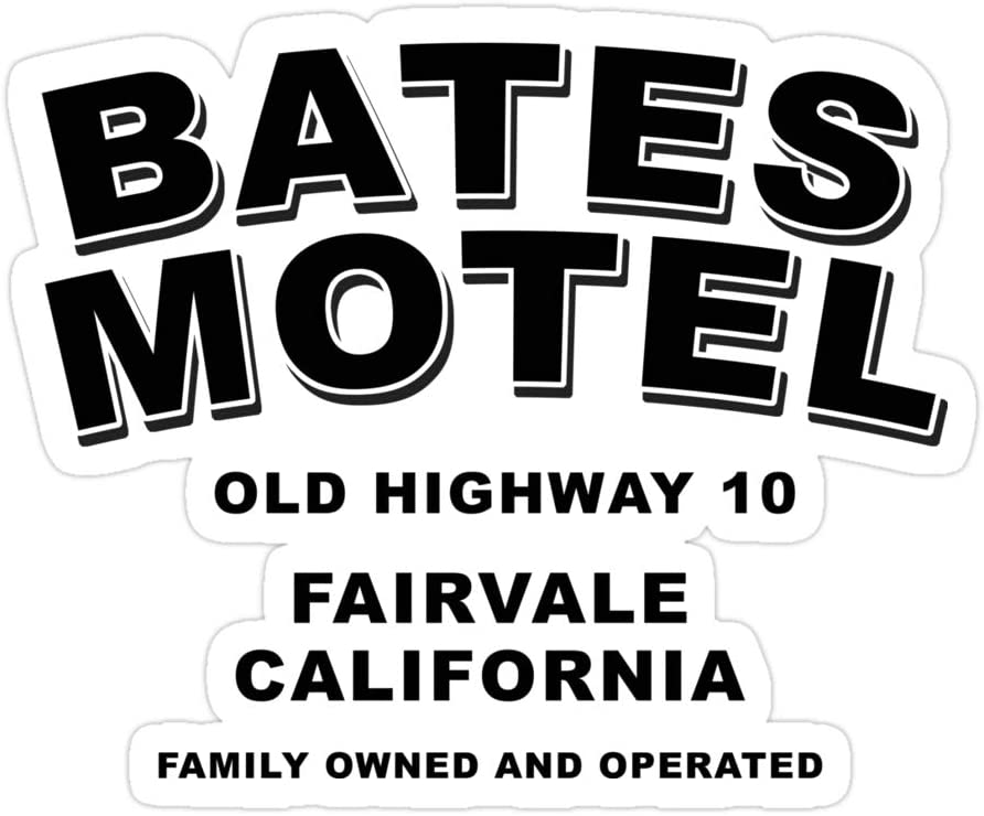 Sneaky Cover (3 PCs/Pack) Psycho Inspired Bates Motel Logo 3x4 Inch Die-Cut Stickers Decals for Laptop Window Car Bumper Helmet Water Bottle