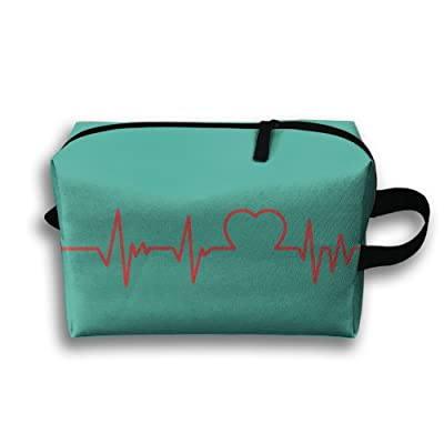 Storage Bag Travel Pouch Heartbeat Hearts Purse Organizer Power Bank Data Wire Cosmetic Stationery Holder