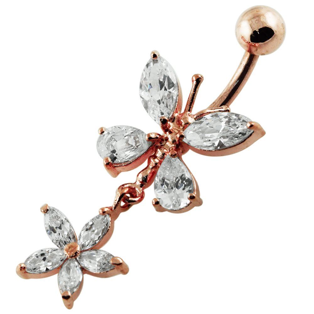 Rose Gold PVD Over Clear CZ Gemstone Dangling Butterfly with Flower 925 Sterling Silver Belly Button Ring