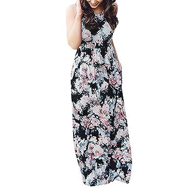 466297e0a9a Sexy Maxi Dress for Women Floral Print Round Neck Sleeveless Dress Long High  Waigh Casual Beach