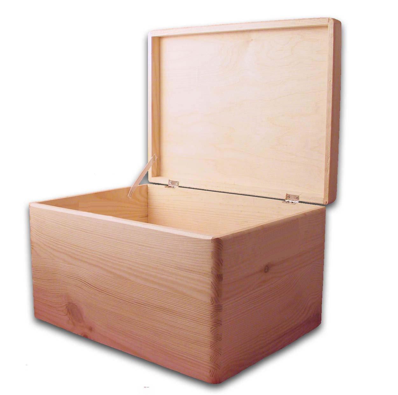 HomeDecoArt PLAIN WOODEN CHEST/DIY BOX/TOY BOX/STORAGE CHEST TRUNK/UNPAINTED WOODEN TRUNK 39.5x 30x 24cm MidaCreativ
