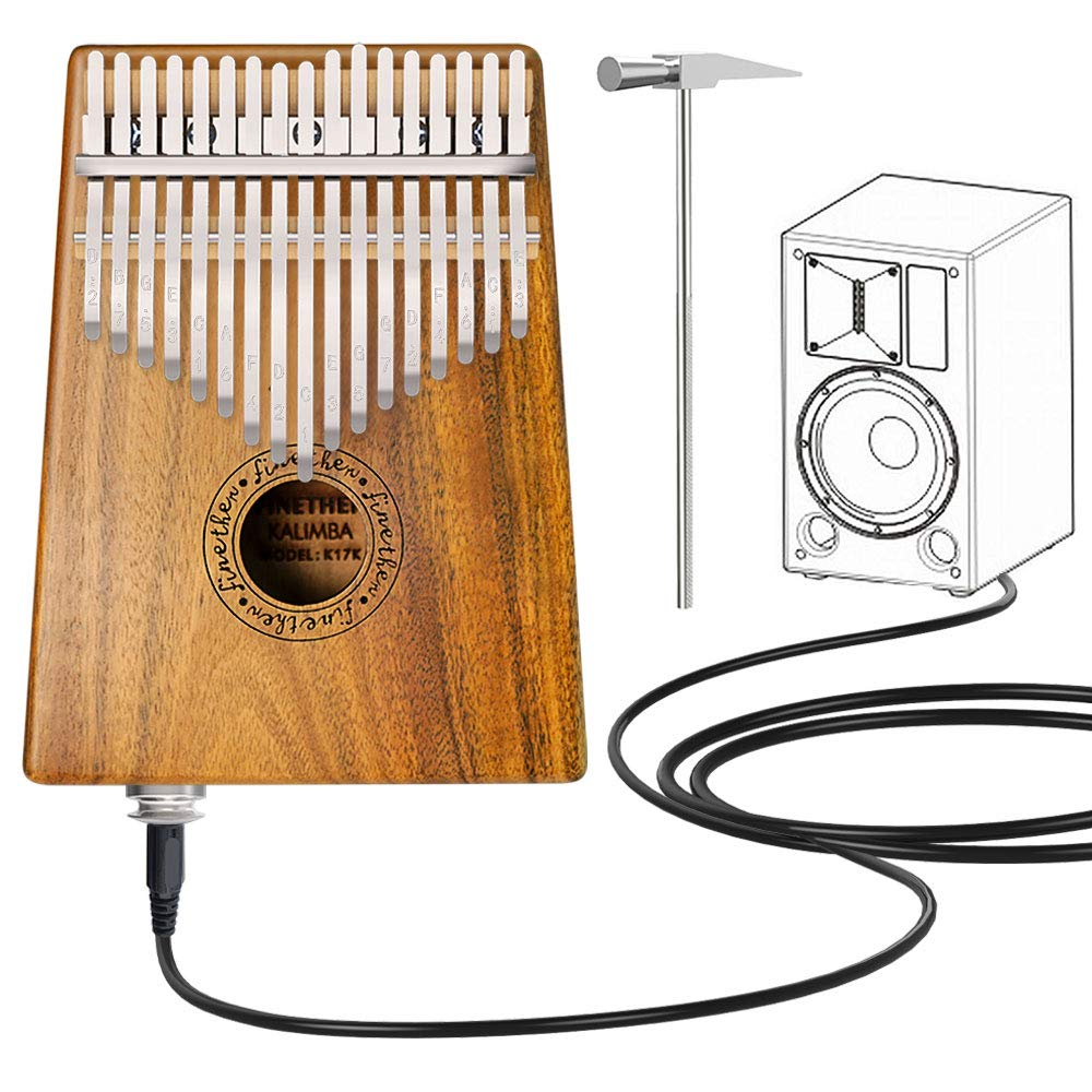 Kalimba 17 Keys Thumb(Piano with Pick up Jack) Mahogany Koa Wood Mbira Sanza Finger Piano Tune Hammer Gift for Kids Adult Beginners Professional Musical Instruments by AHongem