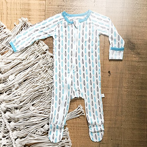 BESTAROO Baby Boy Blue Leaves Zippered Footie