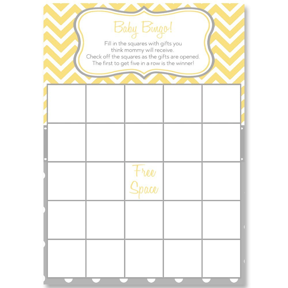 Bingo Games, Chevron Stripes & Polka Dots, Yellow, White, Grey, Gray, Baby Shower Games, Yellow Baby Shower, Gender Neutral, Baby Shower, 24 Printed Game Cards