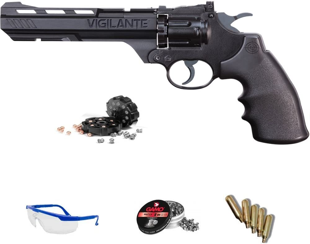 PACK revólver de aire comprimido Crosman Vigilante - Arma de CO2 y balines (perdigones) <3,5J