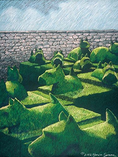 (Topiary Dogs and Cats by Lyn Nance Sasser and Stephen Sasser Art Print, 18 x 24 inches)