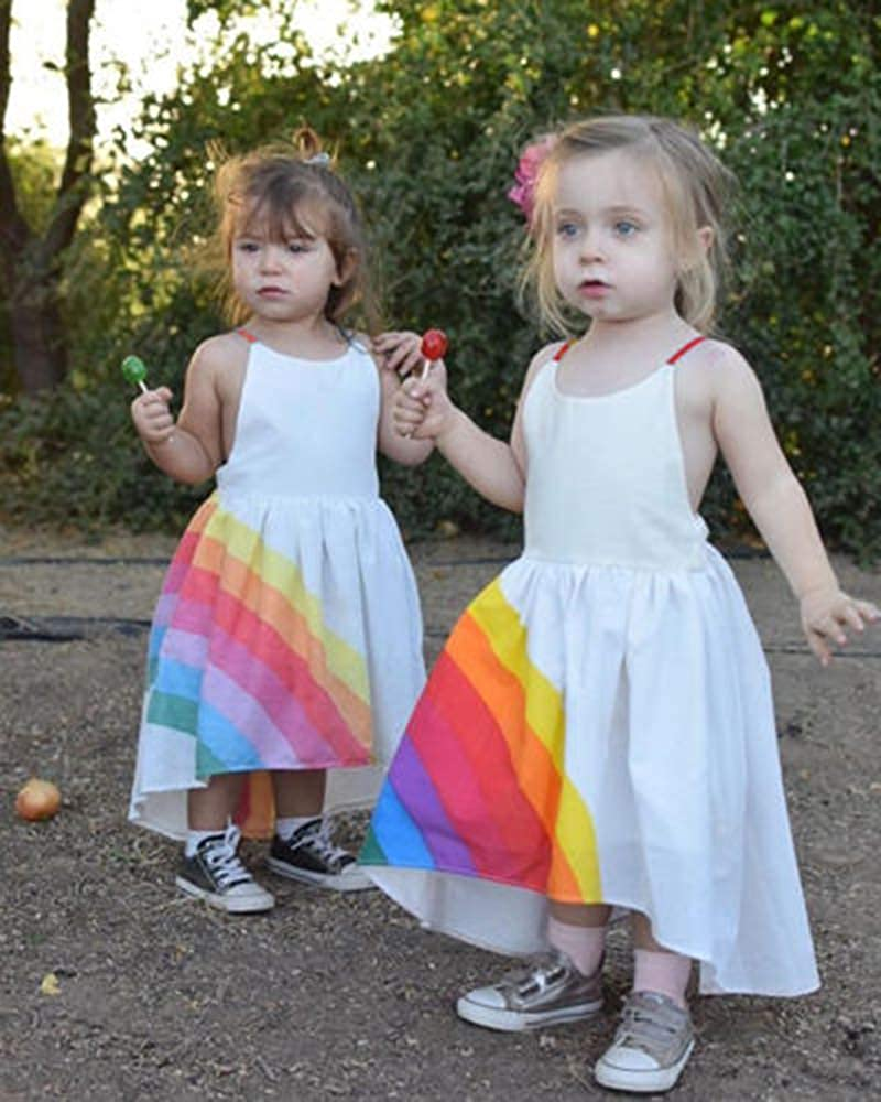 VISGOGO 1-6Yrs Newborn Kids Baby Girls Irregular Sleeveless Rainbow Princess Party Dress Tutu