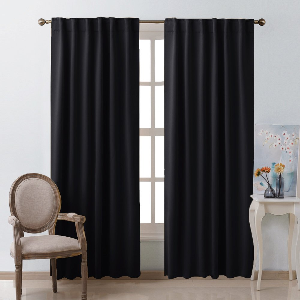 "Blackout Curtains Shades Window Drapes - (Black Color) W52"" x L95"", Double Panels, Blackout Draperies Window Treatment for Living Room"