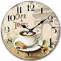 HQF Vintage Living Room Clock, Eruner Old Style Wooden Clock for Wall Cottage French Style Clock Timepiece for Dining Room Kitchen Sturdy Keeps Good Time, 12-inch