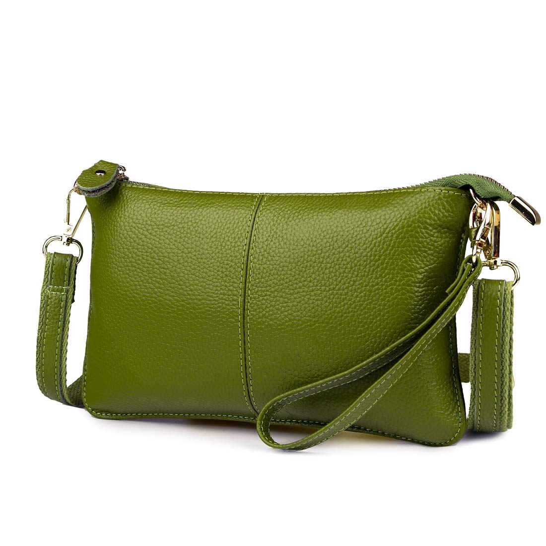 Artwell Women Genuine Leather Clutch Handbag Fashion Wristlet Purse Envelop Crossbody Shoulder Bag with Removable Long Strap for Party Wedding Shopping (Green)