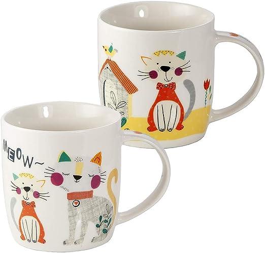 Juego Tazas de Café, Tazas Desayuno Originales de Té Café, Porcelana con Diseño de Lindo Gato, 2 Piezas - Regalos para Amantes de los Gatos Mujeres y Hombres: Amazon.es: Hogar