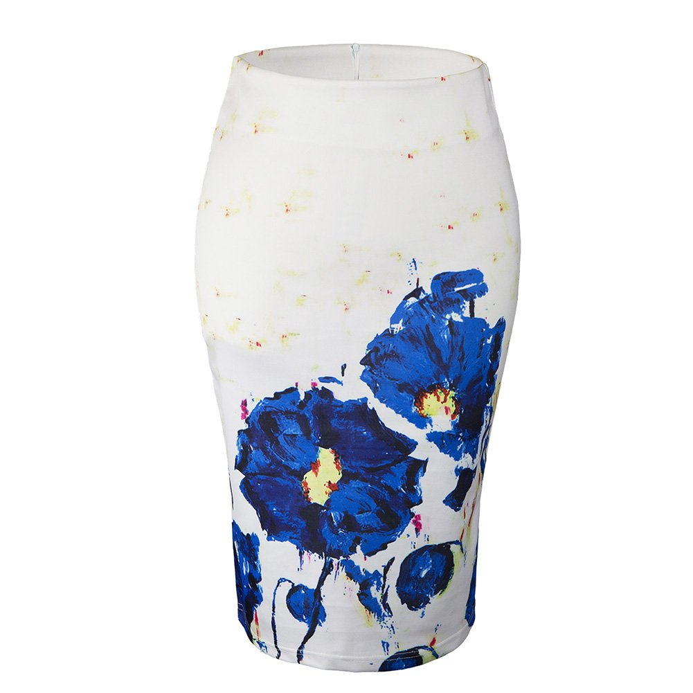 Women Floral Print Midi Pencil Skirt for Office Wear (L, 62)