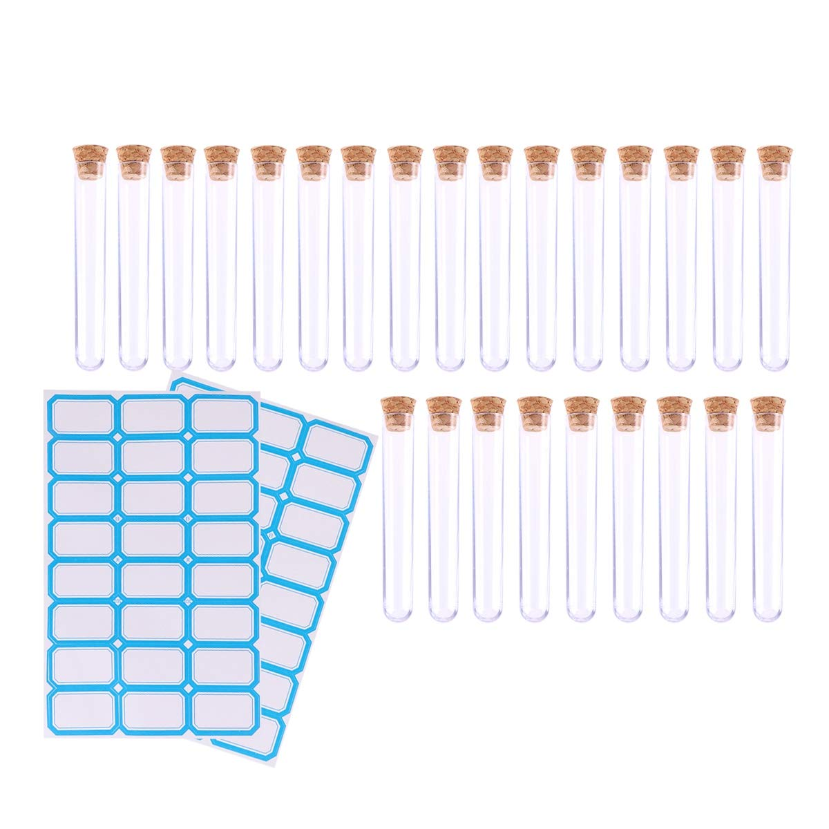 ULTECHNOVO 50pcs Hard Plastic Clear Test Tubes with Cork stoppers and 2pcs Label Stickers for Scientific Experiments Candy Storage Christmas Wedding Party d/écor