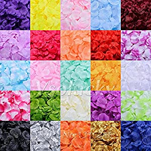 Vsolucky 1000pcs Silk Rose Petals Wedding Confetti Artificial Flower Petal for Wedding Favor Baby Shower Party Centerpieces Decoration 65