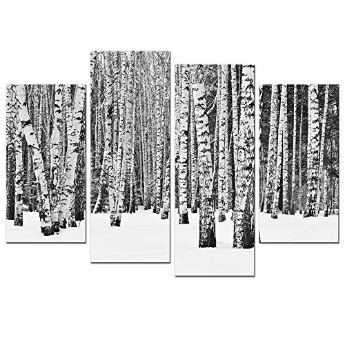 Artwork Tree (Sea Charm- 4 Panel Birch Tree Wall Art,Black and White Forest Pictures Print on Canvas,Home and Office Inner Wall Decor Artwork on Canvas,Winter Landscape Poster Ready to Hang)