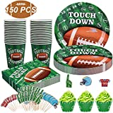 Football Party Supplies for Super Bowl Party Decorations, Including 25 Plates, 25 Cups, 50 Napkins and 50 Cupcake Toppers (3 Styles), Perfect for Football Theme Party or Birthday Party