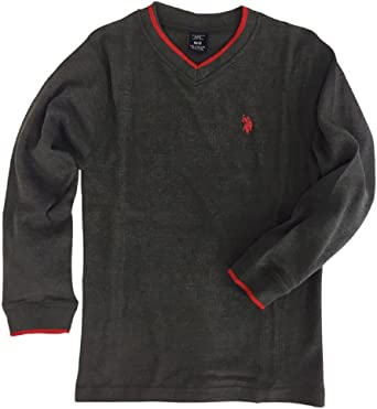 Big Boys V-Neck Thermal Pullover 8 Polo Assn Charcoal U.S