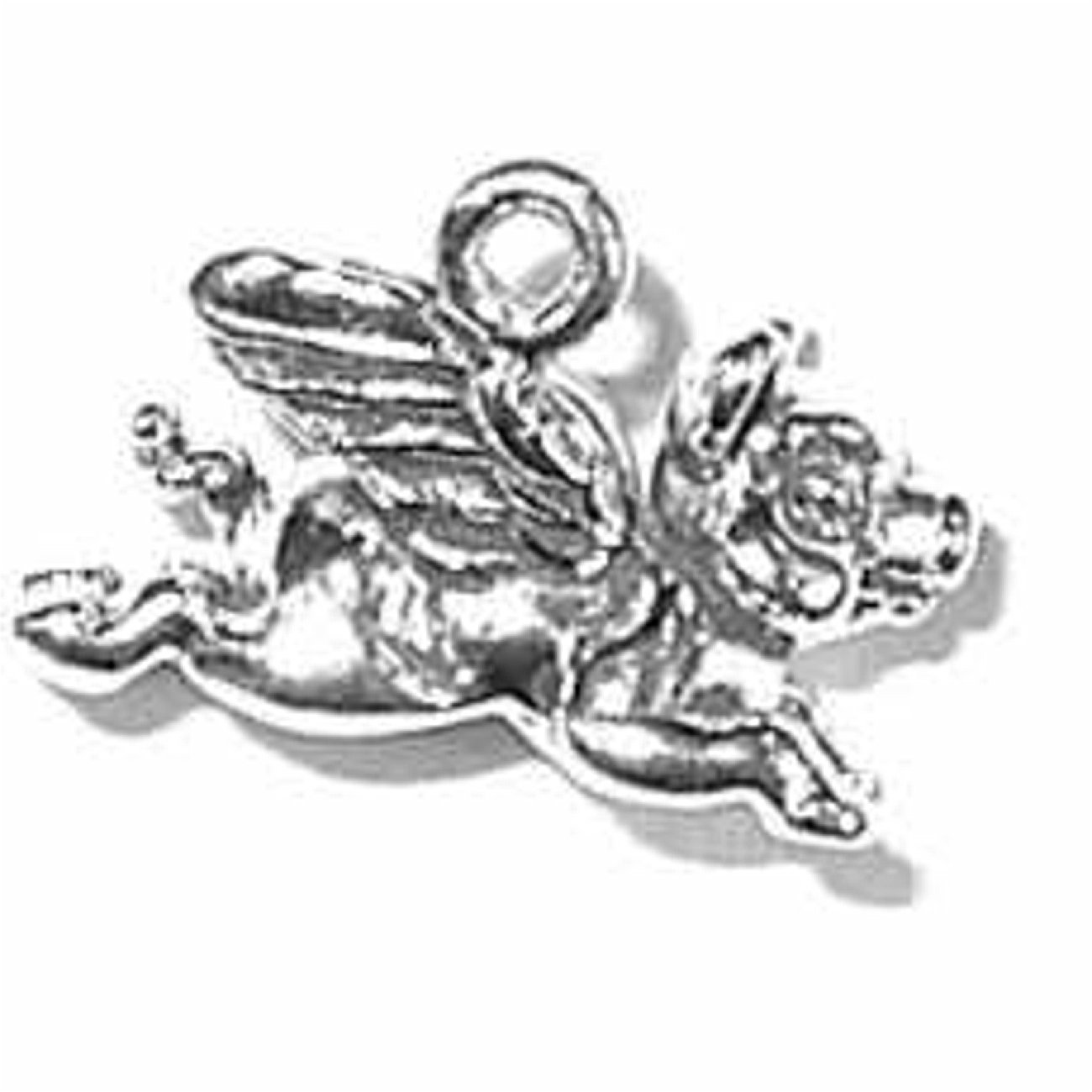 Sterling Silver Womens 1mm Box Chain 3D Flying Pig Pendant Necklace
