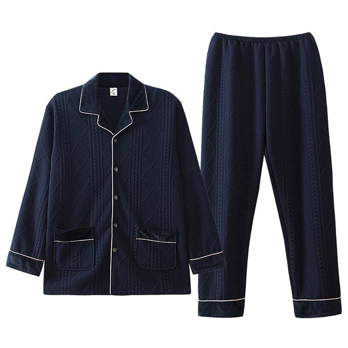 100% Algodón Manga Larga Ropa De Dormir Diseño Rayas Casual Pijama Conjunto Bata Suelto Plus Size Delgado Hombre Pijamas: Amazon.es: Ropa y accesorios