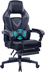 HEALGEN Reclining Gaming Chair with Adjustable Massage Lumbar Pillow and Footrest- Memory Foam PC Computer Racing Chair - Ergonomic High-Back Desk Office Chair GM005-Grey