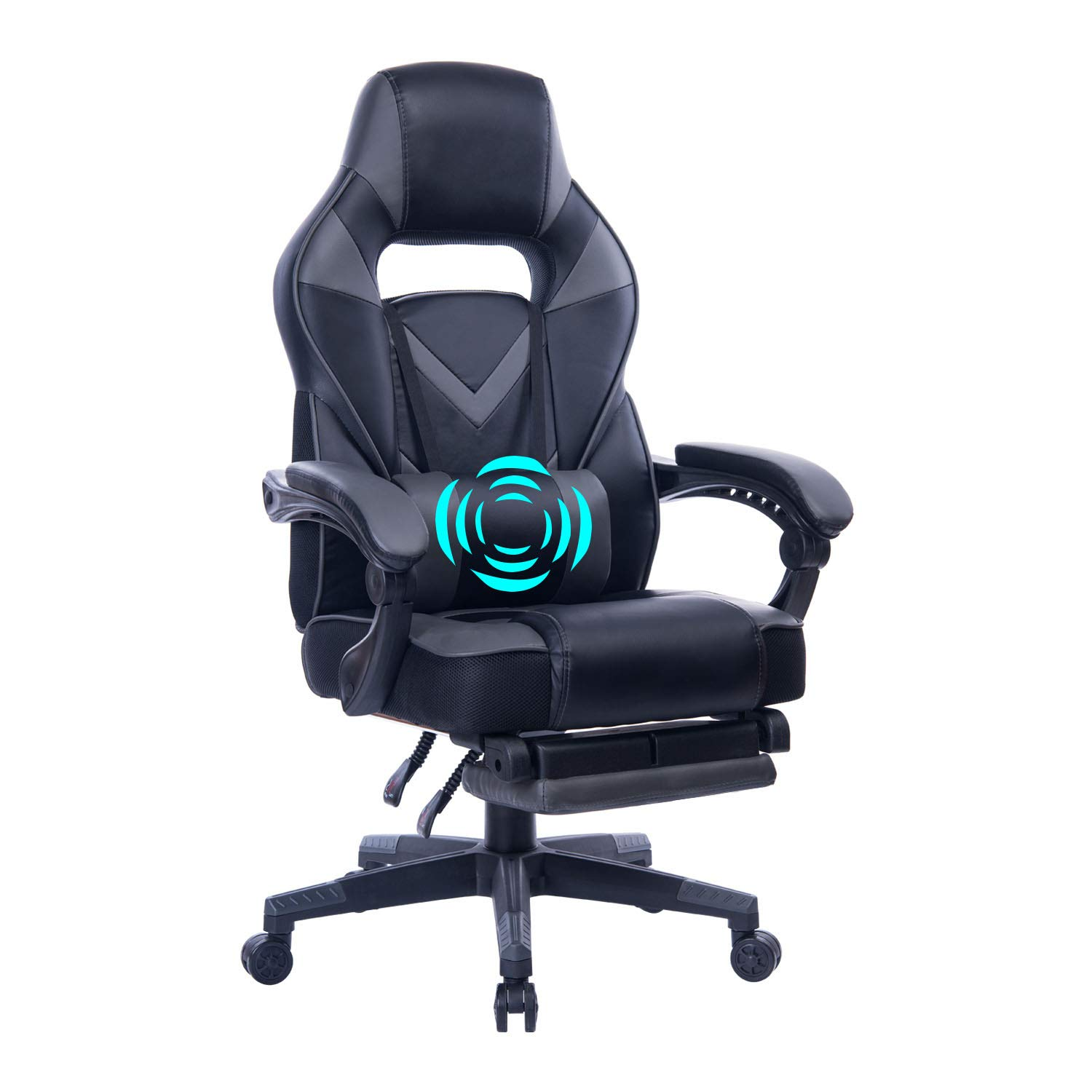 HEALGEN Reclining Gaming Chair with Adjustable Massage Lumbar Pillow and Footrest- Memory Foam PC Computer Racing Chair - Ergonomic High-Back Desk Office Chair GM005-Grey by HEALGEN