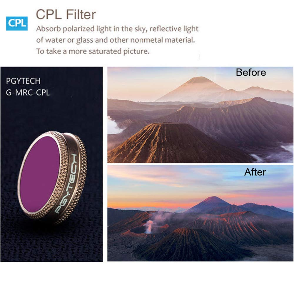 Drone Filter PGY Advanced Edition Filter Kit UV CPL ND4/8/16/32 Lens Filter for DJI Mavic AIR by Tronet RC Drone (Image #5)