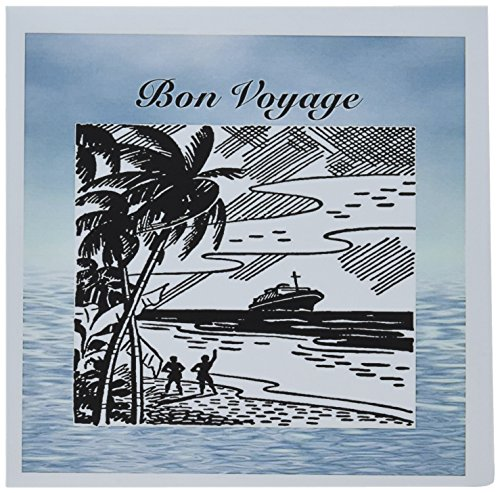 3dRose Print of Retro Bon Voyage on Water Background - Greeting Cards, 6 x 6