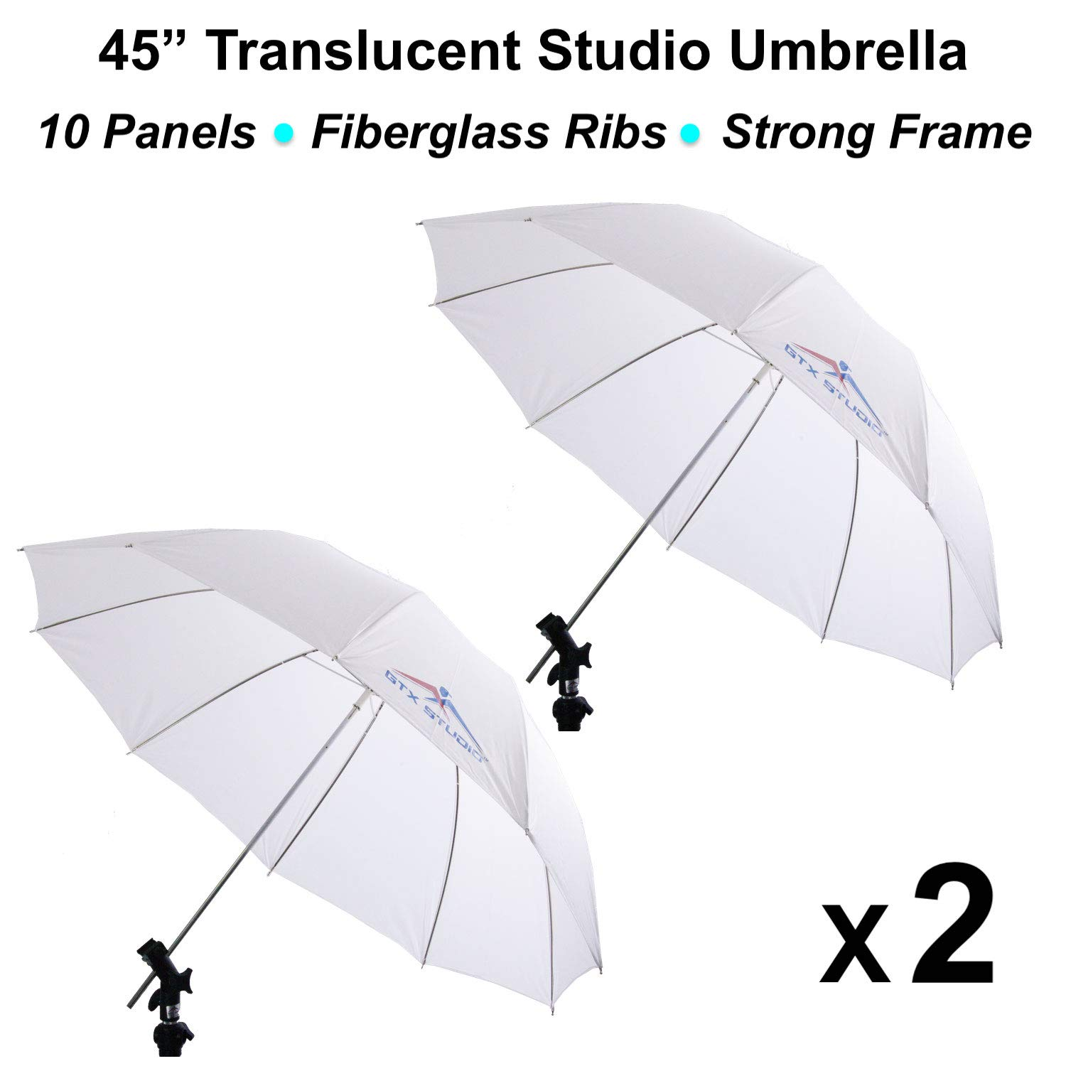 2 x 45 Translucent Photo Studio Umbrella w/ 10 Panel Fiberglass Rib Photography