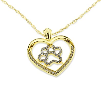 Amazoncom Dog Paw Necklace for Pet Lovers GoldPlatinumPlated