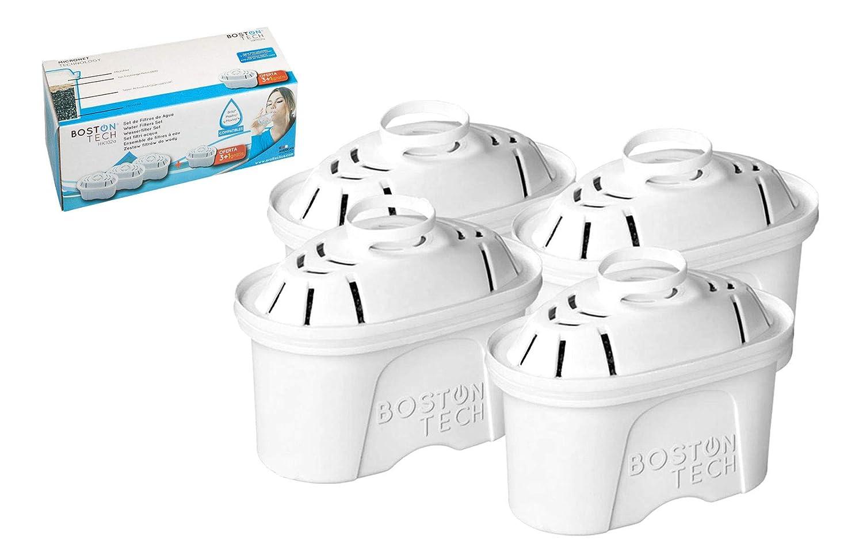 Boston Tech HK-102a, 4 filtri per l'acqua Compatibile brocca d'acqua filtrante Brita Maxtra Iris e Fresia. Effetto prolungato (8 mesi, 4 x 60 giorni per filtro)