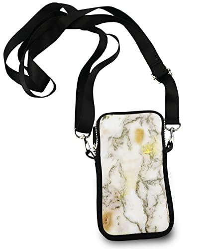1e351482c0 Image Unavailable. Image not available for. Color  Roomy Pockets Series  Chic Golden White Marble Small Crossbody Bag ...