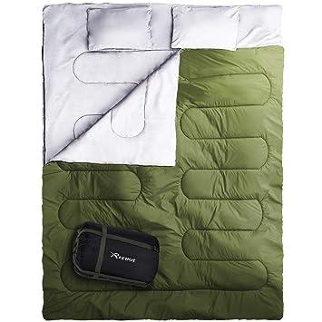 REEHUT Saco de Dormir Plegable, Saco de Acampada Ultraligero Portátil Multifunción, Saco para Dormir