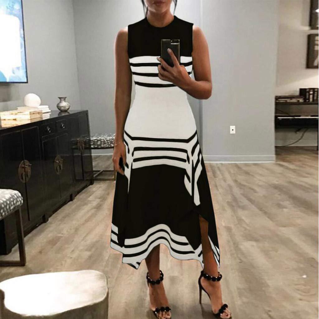 Lucky Mall Frauen Mode Streifen /Ärmellos Kleid mit Unregelm/ä/ßiger Saum Damen Rundhals Tank Rock Sommer L/ässiges Lockeres Kleid Festkleid Strandrock Urlaubsrock