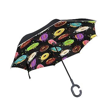 HYJDZKJY Paraguas invertido de Doble Capa Paraguas invertido ...