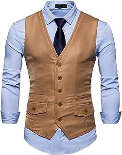 omniscient Men's Business Color Block Jackets Casual Single Breasted Blazer Vest