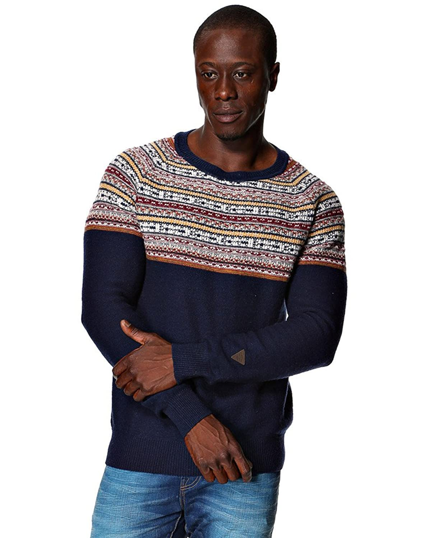 Mens Lindbergh Fashion Winter Ice Pattern Knit Wool Crew Neck Knitwear Sweater Jumper