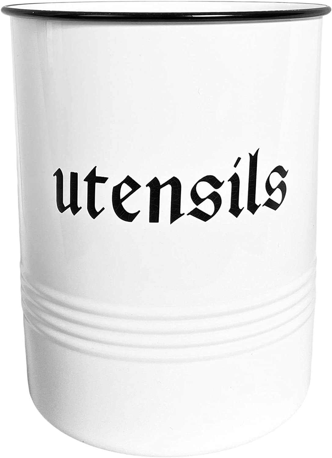 Utensils Holder Countertop - Large Kitchen Tool Storage Crock Organizer - Rustic Vintage Farmhouse Home Kitchen Decor - White Metal With Premium Padded Base By Haus Therapy