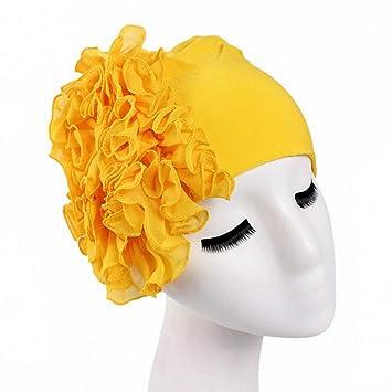Amazon.com   Womens Hair Accessories Autumn Winter Turban Hair Bands Indian  Hat Chiffon Flower Chemo Cap Headwrap Lady Elastic Headbands Hair  Accessories ... d0a16420454f