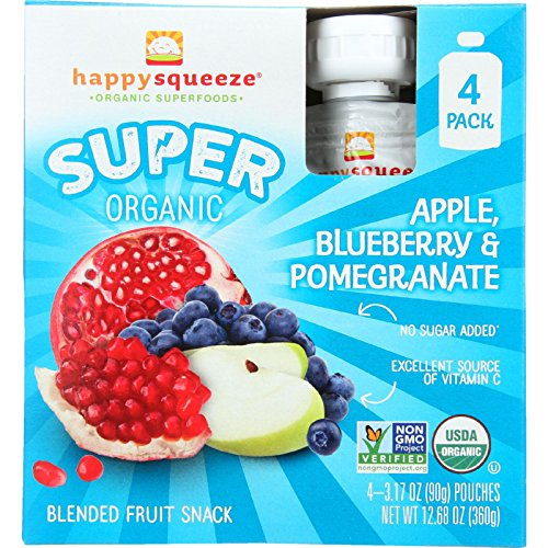 Happy Squeeze Fruit Snack - Organic - Blended - Super - Apple Blueberry and Pomegranate - 4/3.17 oz - case of 4