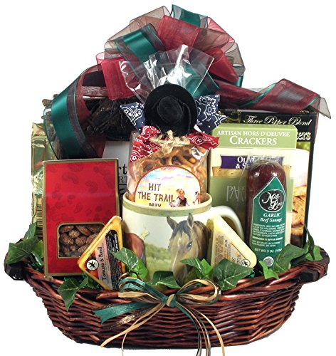 Giddy Up! - Horse Themed Gift Basket For Guys Or Girls Who Love Horses And Snacks, With Horse Coffee Mug And Detailed Photo Frame, 8 Pounds ()