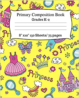 Primary Composition Book Cute Princess Notebook Story Paper With