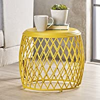 Brassel Indoor 19 Inch Diameter Lattice Matte Yellow Iron Side Table