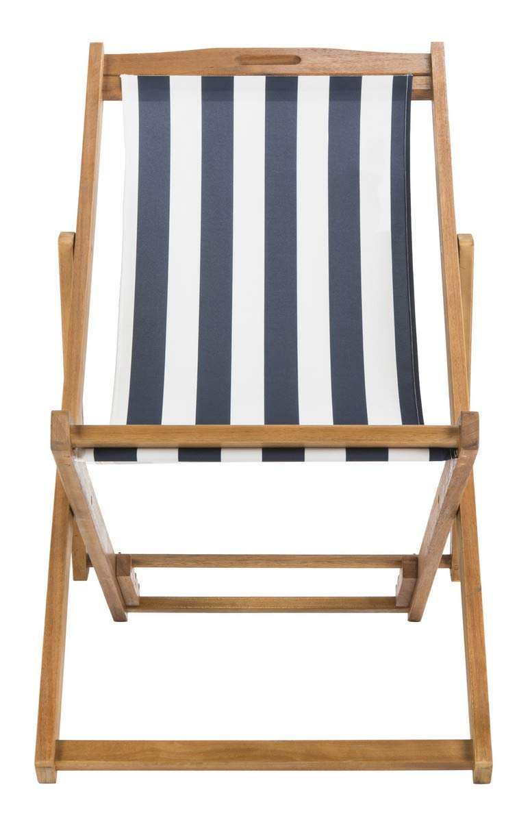 Safavieh PAT7040A-SET2 Outdoor Collection Loren Teak, Navy and White Foldable Sling Adirondack Chair by Safavieh