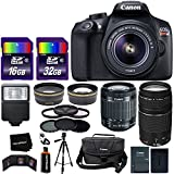 Canon EOS Rebel T6 Digital SLR Camera International Version + EF-S 18-55mm Lens + 75-300mm III Zoom Lens + Telephoto & Wide Lenses + Canon Case + Flash + ND & UV Filter Set + 48GB SD Memory + Tripod