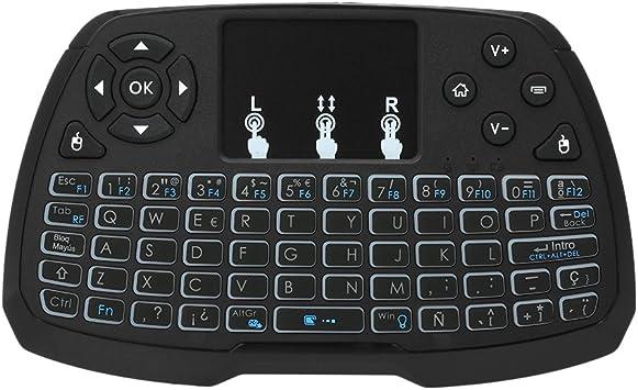Docooler Versión en español con retroiluminación de 2.4GHz Teclado inalámbrico Touchpad Control Remoto de Mano del Mouse 4 Colores de luz de Fondo para TV Box Smart TV PC Notebook: Amazon.es: Electrónica