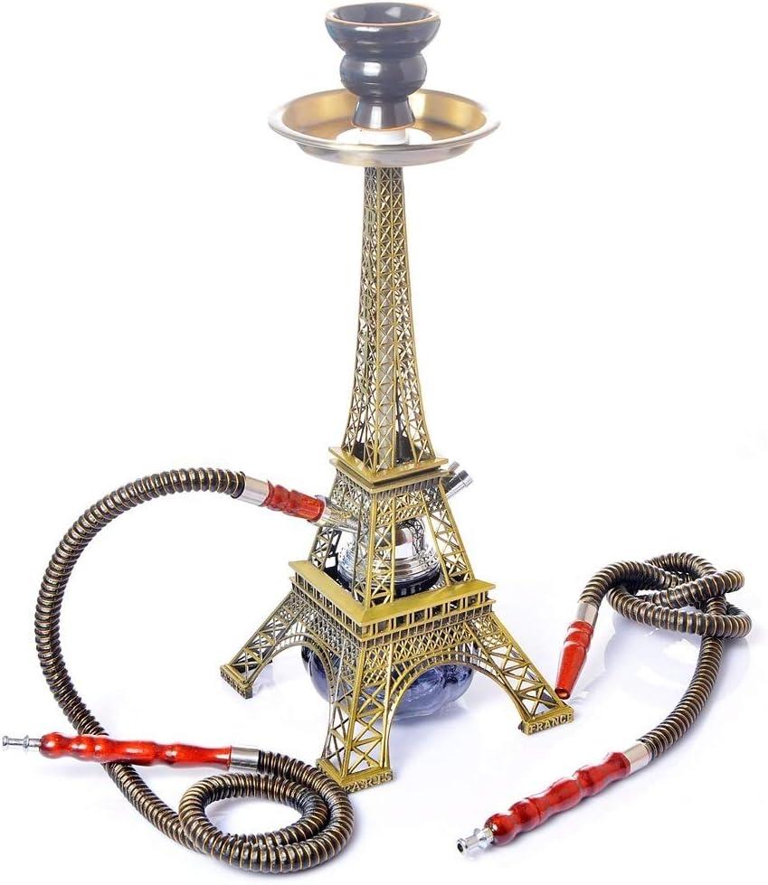Hookah 40 cm Cachimba Kit Set, Forma de La Torre Eiffel 2 Shisha Mangueras para 2 Personas con Tubo Cazoleta Cerámica Shisha Bowl Pinza de Carbó