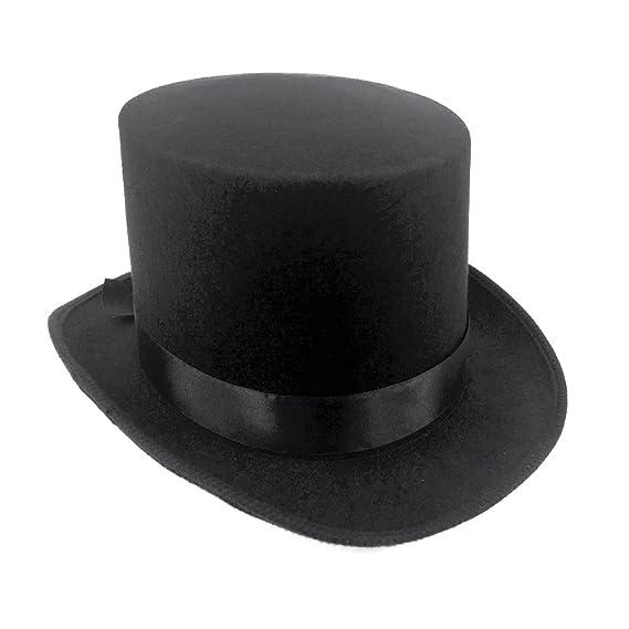 JJMS Sombrero alto rígido de fieltro, color negro: Amazon.es: Juguetes y juegos